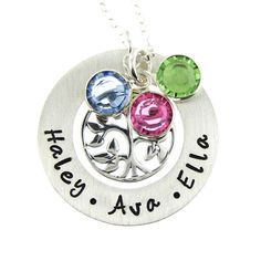 Family Tree Necklace with Birthstones - Hand Stamped Mothers Jewelry - Sterling Silver Tree of Life charm. $62.00, via Etsy.