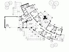 First Floor Plan of Santa Fe Southwest House Plan 99272 Home Design, Home Building Design, Plan Design, Building A House, Building Plans, Indoor Outdoor Pools, The Plan, How To Plan, Plan Plan