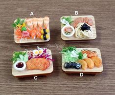 MINIATURE JAPANESE FOOD Select design from option list (see photos 2 to 7 for details) Quantity = 1 piece Design = see option list Material = clay food, wooden tray Size of wooden tray = 3.1cm x 4.2cm Not edible. Food glued to tray. Due to handmade nature, size may vary slightly. Dolls