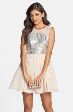 Way-In Sheer Yoke Fit & Flare Dress (Juniors) available at #Nordstrom