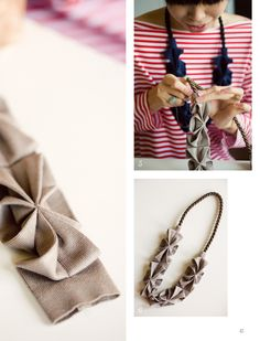 DIY: origami Hana necklace with knit fabric, tutorial by Yoko Vega, from Anthology magazine Origami Necklace, Fabric Necklace, Diy Necklace, Necklaces, Necklace Tutorial, Necklace Ideas, Textile Jewelry, Fabric Jewelry, Diy Jewelry