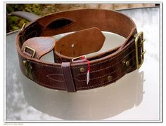 French vintage military brown leather belt Bronze by PARISOUIPARIS, $126.00