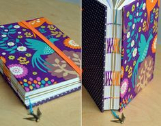 French Stitch on a purple and orange handmade journal