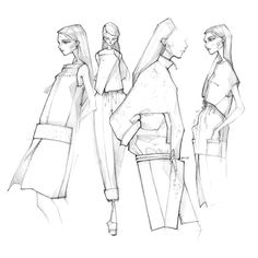 Fashion Illustration Speed Painting with Ink - Drawing On Demand Illustration Mode, Fashion Illustration Sketches, Fashion Sketches, Dress Sketches, Design Illustrations, Fashion Design Sketchbook, Fashion Design Drawings, Fashion Design Portfolio, Milan