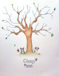 Baby Shower Fingerprint Tree Guestbook- Baby Guestbook Alternative- Naming Ceremony
