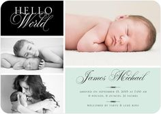Send a picture collage birth announcement card to your friends and family to introduce your new baby boy to the world.