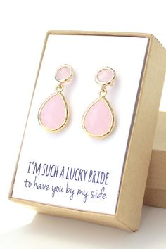 Blush Pink / Gold Teardrop Post Earrings  Pink and by ForTheMaids