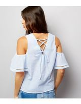 Shop Blue Lattice Back Cold Shoulder Top . Discover the latest trends at New Look. New Look, Cold Shoulder, Latest Trends, Blue, Shopping, Tops, Women, Fashion, Moda