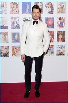 May David Gandy steps out for the Vogue 100 Festival Gala at Kensington Gardens. Charming in a dapper tuxedo that includes a white double-breasted dinner jacket David wore Dolce & Gabbana. Wedding Tuxedo Styles, White Tuxedo Wedding, Groom Tuxedo Wedding, Wedding Men, Wedding Suits, Wedding Tuxedos, Wedding Blazers, Wedding Poses, Wedding Attire