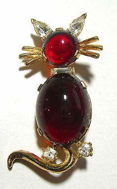 Trifari Alfred Philippe red glass jelly belly rhinestone cat brooch