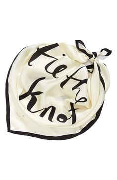 kate spade new york 'tie the knot' silk square scarf | A charming gift for bride or bridesmaids, this crisp silk scarf sports a classic black border and a playful, aisle-inspired pun.