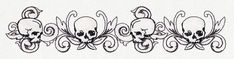 A darkly beautiful skull border puts a unique twist on classic toile styling. Embroidery Patterns, Machine Embroidery, Skull Coloring Pages, Urban Threads, Embroidered Towels, Border Pattern, Hand Towels, Weaving, Toile
