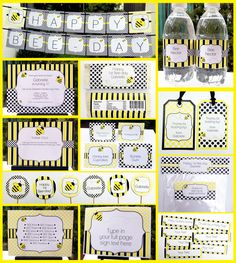 Bee Day Party Printable Collection - YOU PERSONALIZE AT HOME WITH ADOBE READER! $14.95