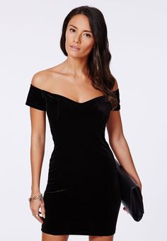 Velvet Bardot Bodycon Mini Dress In Burgundy, Burgundy - Shopcade