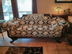 Antique Black and White Damask Steampunk Sofa, perfect for a steampunk parlor!