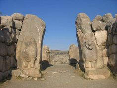 The Lion Gate at Bogazkoy, Turkey (in the ruins of city of Hattusha); Hittite; c. 1400 BC; the stone gates to the city would have arched in a parabola, with huge towers on either side.  A UNESCO World Heritage Site