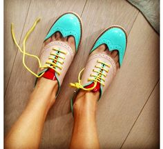 colour blocking shoes.
