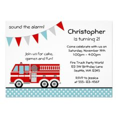 Fire Truck Polka Dot Banner Boy Birthday Party Personalized Invitation