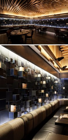 Nobu Downtown (NYC) has a large ceramic art installation along its walls. The two and three dimensional mural is made up of glazed blocks and squares that provides the interior with a highly-textured effect, while adding shades of cobalt blue and concealing LED light fixtures that highlight the art.