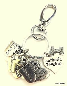 Catholic Teacher Fruit of the Spirit Keychain with Rhinestone Initial Charm by AmyDavisArt