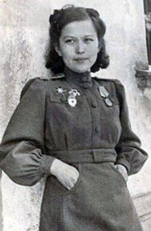 "Khiuaz Dospanova (Cyrillic: Хиуаз Доспанова) was a Kazakh pilot who served in World War II in the 588th Night Bomber Regiment, nicknamed the ""night witches."""