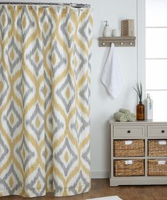 Yellow and Gray Shower Curtain Bathroom Grey yellow shower