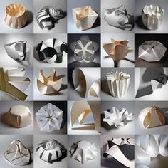 """""""The limitations of paper as a form offer a challenge, which through playful investigation results in tangible models...Hands on manipulation provides perhaps the best insight into the properties of a material, allowing it's behaviours to be discovered and exploited for the generation of form."""" - Richard Sweeney."""