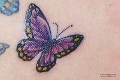 Free tattoo photo gallery, tattoo shops, tattoo designs, samples, and everything else you need to find the right tattoo. Purple Butterfly Tattoo, Purple Tattoos, Butterfly Tattoo On Shoulder, Side Tattoos, Word Tattoos, Tattoo Shop, I Tattoo, Lupus Tattoo, Petite Tattoos