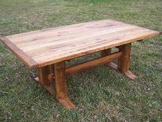 Custom Made Antique Oak Mission Style Trestle Table