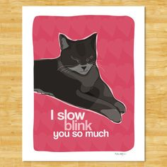 Valentines Day Art Cat Print - I Slow Blink You So Much - Cat Gifts Valentines Day Free Shipping on Etsy, $12.49