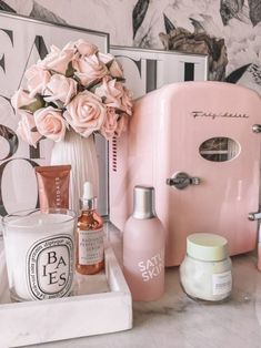 Skin Fridge Pink skin fridge Skin care essentials skin fridge essentials Skin care products Blondie in the City by Hayley Larue Cute Room Decor, Room Ideas Bedroom, Bedroom Decor, Spa Room Decor, Beauty Room Decor, Girl Bedroom Designs, Aesthetic Room Decor, Glam Room, Makeup Rooms
