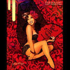 """""""Live love laugh Señorita"""" pinup portrait commission of Melanie from Phoenix. www.portraitsbysantiago.com"""