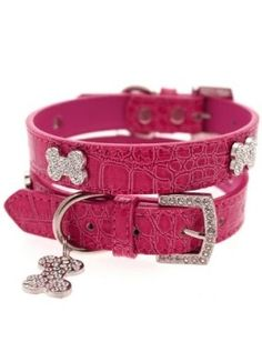 Bruiser's Legally Blonde Pink Leather Diamante Collar & Diamante Bone Charm & Leash - Leather Collars Posh Puppy Boutique