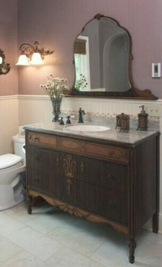 Traditional bathroom 208713763957729865 - Victorian Farmhouse Bathroom – repurposed dresser used as a vanity, with its mirror mounted to the wall – via Houzz Source by llialn Victorian Bathroom, Vintage Bathrooms, Victorian Decor, Victorian Design, Antique Bathroom Decor, Victorian Wall Mirrors, Industrial Bathroom, Bathroom Renos, Bathroom Furniture