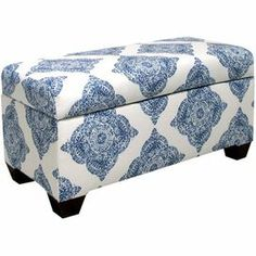 Upholstered storage bench with a pine wood frame and medallion-print upholstery. Handmade in the USA.