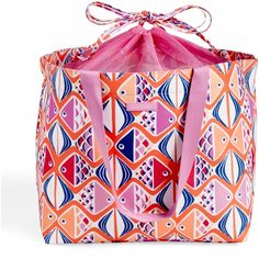 Vera Bradley Drawstring Family Tote ($58) ❤ liked on Polyvore featuring bags, handbags, tote bags, go fish coral, travel purse, beach tote bags, vera bradley tote bags, light weight tote bag and vera bradley tote