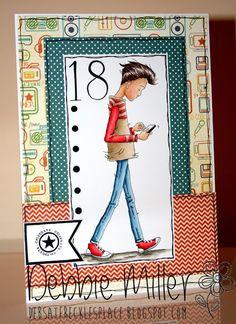 LOTV - Oliver Texting by Debbie Miller Create Birthday Card, 18th Birthday Cards, Birthday Cards For Boys, Handmade Birthday Cards, Man Birthday, Boy Cards, Kids Cards, Men's Cards, Happy Birthday Greetings