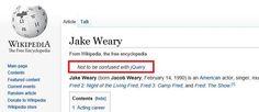 Jake Weary a Wikipedia-ban
