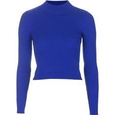 TOPSHOP Ribbed Wool Blend Cropped Sweater ($45) ❤ liked on Polyvore featuring tops, sweaters, shirts, cobalt, blue crop top, blue sweater, crop shirts, topshop shirt and wool blend sweaters