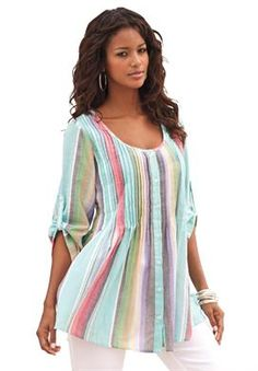 Rainbow Stripe Bigshirt | Plus Size Shirts and Blouses | Roamans