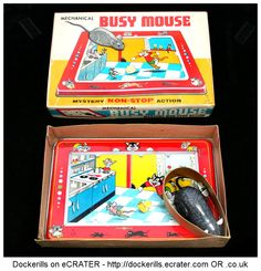 Mechnical Busy Mouse, TPS, Toplay Ltd., Japan (1 of 3). Vintage Tin Litho Plate Toy. Wind-Up / Clockwork Mechanism.