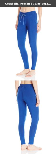 Cosabella Women's Talco Jogger Pant, Marine Blue, Large. Made in our famous Talco fabric, the jogger pant has gathered leg bands and drawstring waist for a sporty chic look.