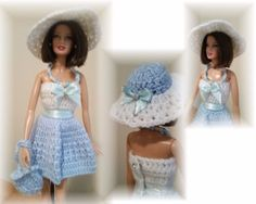 Handmade-Crochet-Barbie-Outfit-Dress-Hat-Purse-and-Jewelry-Set