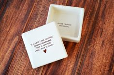 SHIPS FAST - Funny Friendship Gift - Keepsake Box - Always remember that if you fall I will pick you up. This funny keepsake/jewelry box would be a perfect holiday gift for your friend, co-worker or family member and one that could be enjoyed all year around. It's made of earthenware clay and has this text printed on it: 'You and I are friends. Always remember that if you fall I will pick you up....' with a little heart underneath. The inside of the box reads: 'After I finish laughing'…