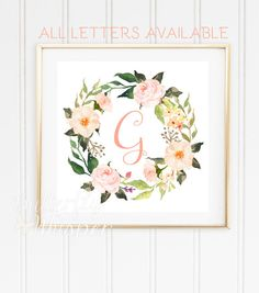 Monogram baby letter for wall printable by ButterflyWhisper