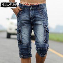 Pantalones retro cortos de mezclilla lavados de algodón para hombres