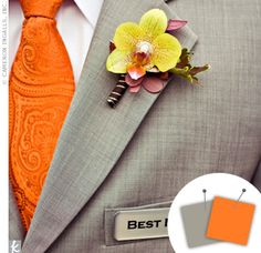 Orange and gray bode will with a kiss of yellow in this Best Man wedding ensemble.