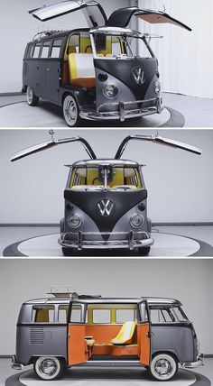 Vintage VW Bus Revamped as 'Back to the Future' Time Machine This 1967 VW Bus has been customized to include Back to the Future features like gullwing doors and a working Flux Capacitor. Volkswagen Transporter, Volkswagen Bus, Vw T1, Kombi Trailer, Kombi Motorhome, Auto Jeep, Jeep Stiles, Van Vw, Camper Van