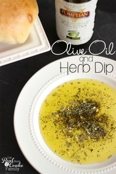Quick, simple, and delicious recipe to make Olive Oil and herb dip served with an olive oil and sea salt crusted bread. Delish!
