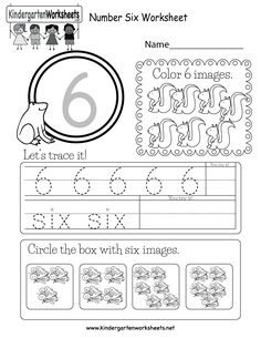 Easily print our number six worksheet right in your browser. It is a free kindergarten math worksheet. Preschool Charts, Number Worksheets Kindergarten, Printable Preschool Worksheets, Numbers Preschool, Kindergarten Math Worksheets, Tracing Worksheets, Worksheets For Kids, Preschool Homework, Kindergarten Class